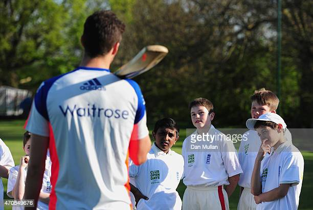 Steven Finn of England and Middlesex talks with young cricketers during the Launch of ECB's Club Open Days, supported by Waitrose at Brondesbury...