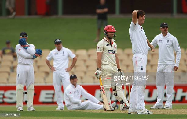 Steven Finn of England and the rest of the slips appeal for the wicket of Aiden Blizzard of South Australia during day two of the Tour Match between...