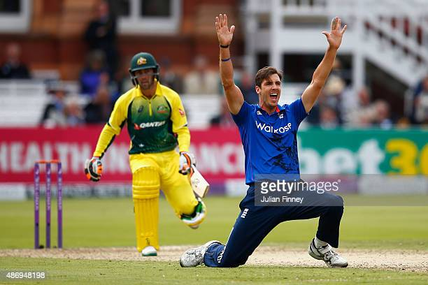Steven Finn of England appeals successfully for taking the wicket of Glenn Maxwell of Australia during the 2nd Royal London OneDay International...