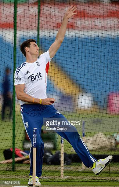 Steven Finn of England bowls during a nets session at Headingley on May 22 2013 in Leeds England