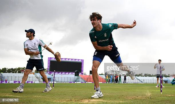 Steven Finn of England bowls during a nets session at Zohur Ahmed Chowdhury Stadium on October 13 2016 in Chittagong Bangladesh