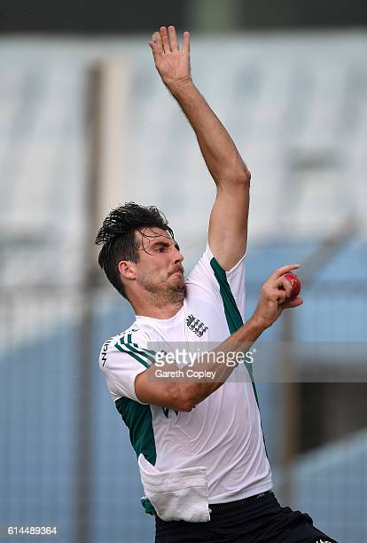 Steven Finn of England bowls during a nets session at Zohur Ahmed Chowdhury Stadium on October 14 2016 in Chittagong Bangladesh
