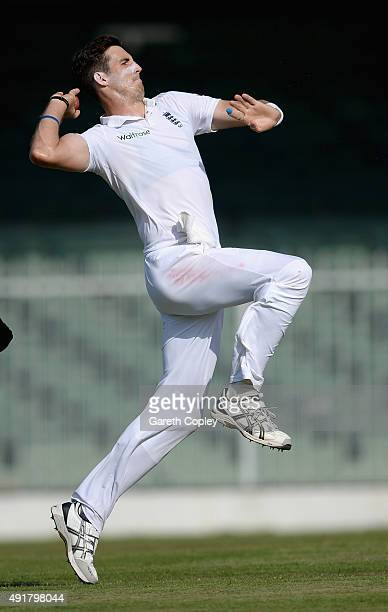 Steven Finn of England bowls during day one of the tour match between Pakistan A and England at Sharjah Cricket Stadium on October 8 2015 in Sharjah...