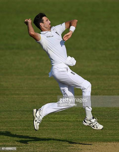 Steven Finn of England bowls during day one of the tour match between a Bangladesh Cricket Board XI and England at MA Aziz stadium on October 16 2016...