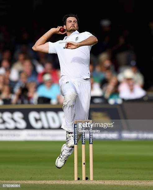 Steven Finn of England bowls during day three of the 1st Investec Test between England and Pakistan at Lord's Cricket Ground on July 16 2016 in...