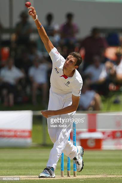 Steven Finn of England bowls during day two of the tour match between the Chairman's XI and England at Traeger Park Oval on November 30, 2013 in...