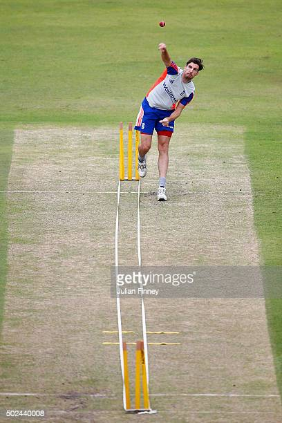 Steven Finn of England bowls during England nets and training session at Sahara Stadium Kingsmead on December 25, 2015 in Durban, South Africa.