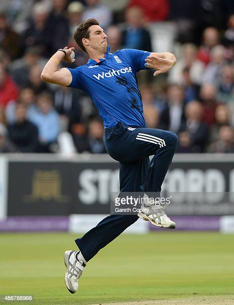 Steven Finn of England bowls during the 2nd Royal London One-Day International match between England and Australia at Lord's Cricket Ground on...