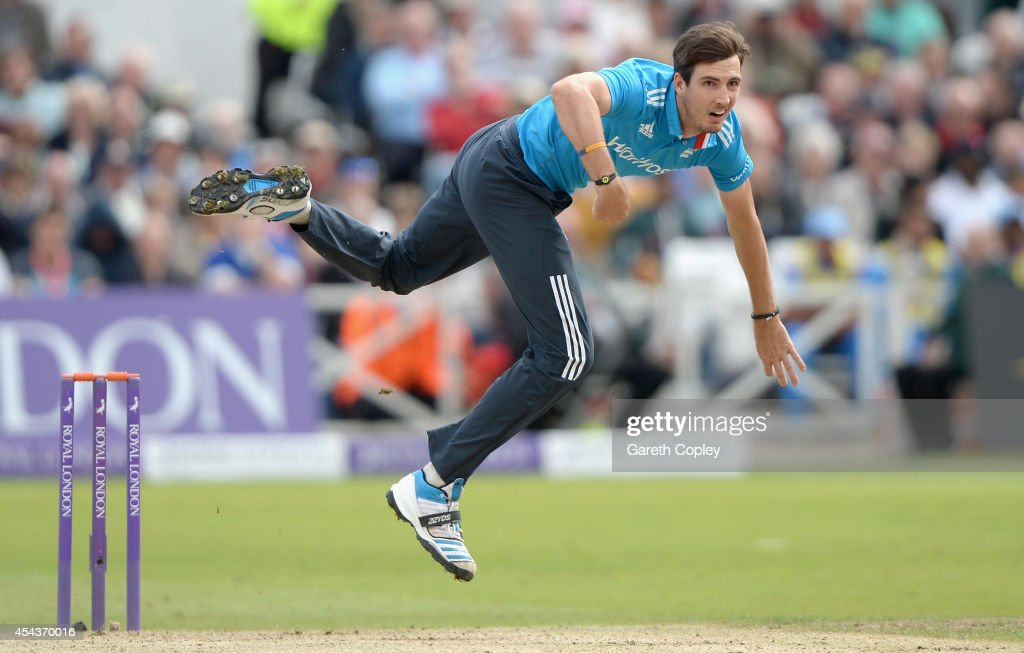 Steven Finn of England bowls during the 3rd Royal London One-Day International match between England and India at Trent Bridge on August 30, 2014 in Nottingham, England.