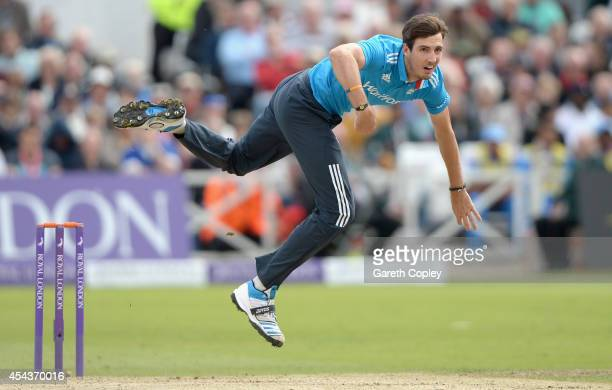 Steven Finn of England bowls during the 3rd Royal London OneDay International match between England and India at Trent Bridge on August 30 2014 in...