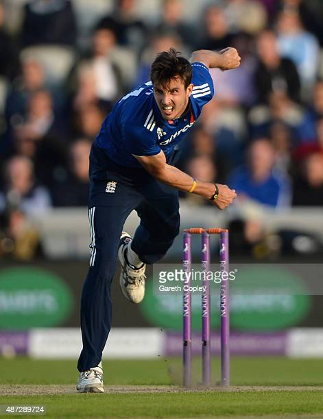 Steven Finn of England bowls during the 3rd Royal London OneDay International match between England and Australia at Old Trafford on September 8 2015...