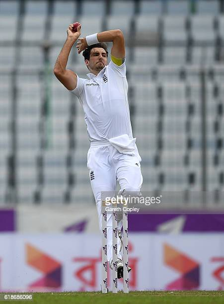 Steven Finn of England bowls during the first day of the 2nd Test match between Bangladesh and England at Sher-e-Bangla National Cricket Stadium on...