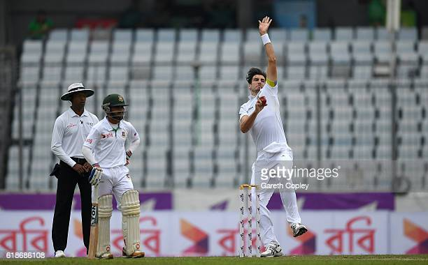 Steven Finn of England bowls during the first day of the 2nd Test match between Bangladesh and England at ShereBangla National Cricket Stadium on...