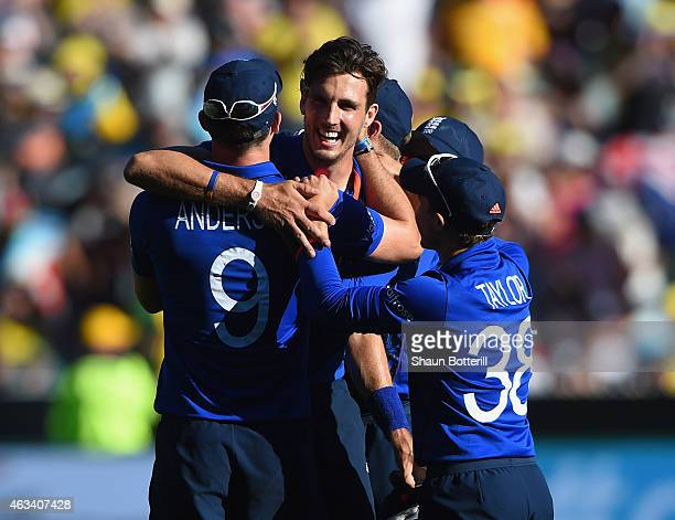 Steven Finn of England celebrates after taking a hattrick on the last ball of the innings during the 2015 ICC Cricket World Cup match between England...