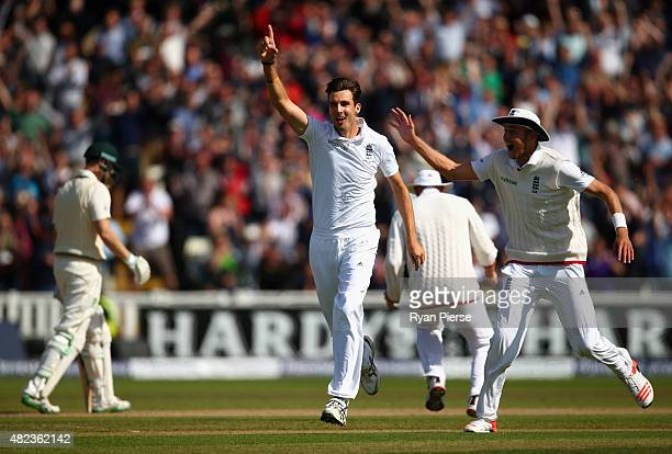 Steven Finn of England celebrates after taking the wicket of Adam Voges of Australia during day two of the 3rd Investec Ashes Test match between...