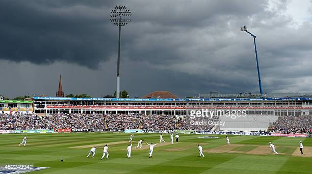 Steven Finn of England celebrates bowling Australian captain Michael Clarke during day one of the 3rd Investec Ashes Test match between England and...