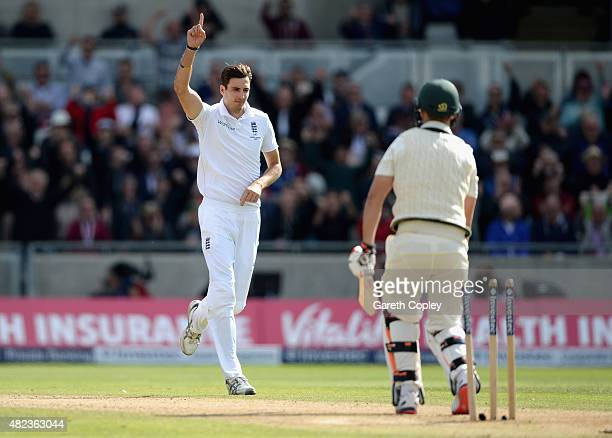 Steven Finn of England celebrates bowling Mitchell Marsh of Australia during day two of the 3rd Investec Ashes Test match between England and...