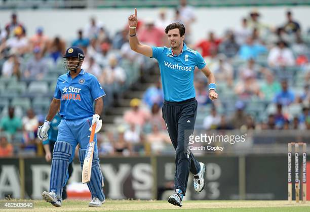 Steven Finn of England celebrates dismissing Ajinkya Rahane of India during the One Day International match between England and India at WACA on...