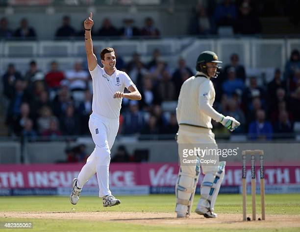 Steven Finn of England celebrates dismissing Australian captain Michael Clarke during day two of the 3rd Investec Ashes Test match between England...
