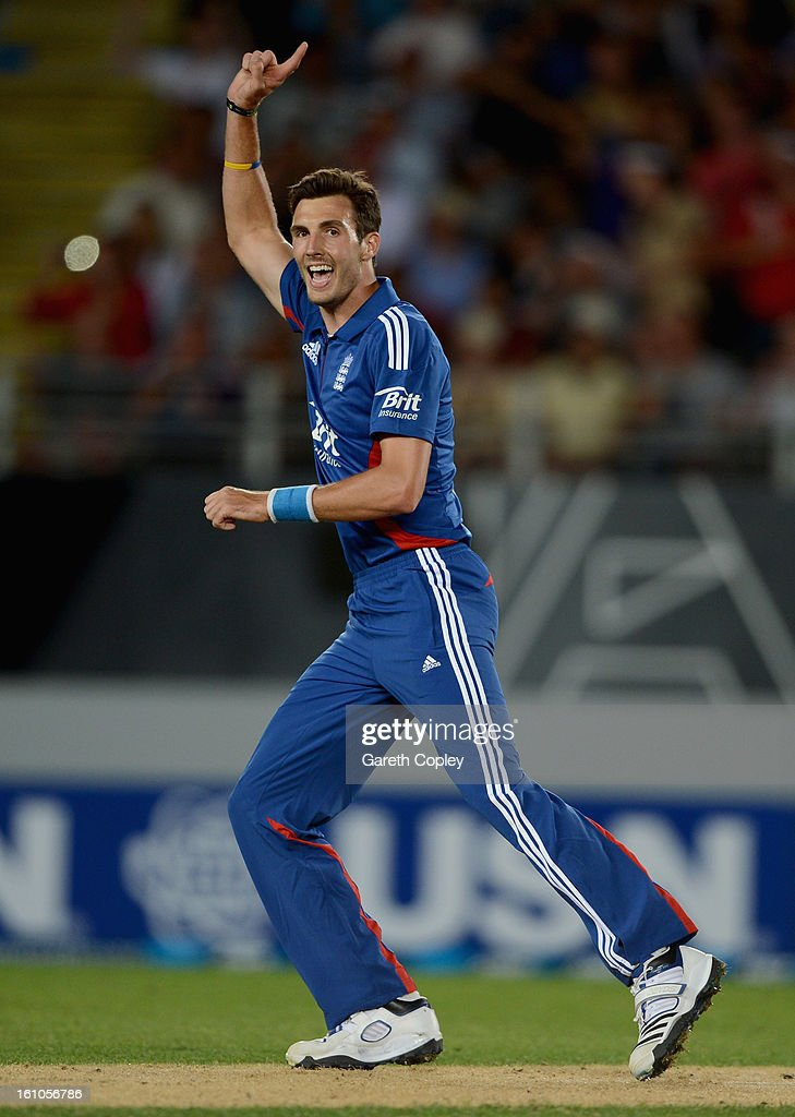Steven Finn of England celebrates dismissing Brendon McCullum of New Zealand during the 1st T20 International between New Zealand and England at Eden Park on February 9, 2013 in Auckland, New Zealand.