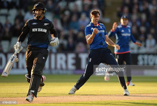 Steven Finn of England celebrates dismissing Ross Taylor of New Zealand during the 1st ODI Royal London OneDay match between England and New Zealand...