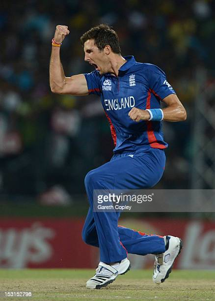 Steven Finn of England celebrates dismissing Tillakaratne Dilshan of Sri Lanka during the ICC World Twenty20 2012 Super Eights Group 1 match between...