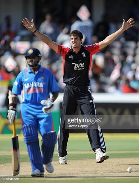 Steven Finn of England celebrates running out Parthiv Patel of India during the 1st One Day International between England and India at The Rajiv...