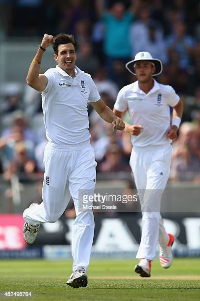 Steven Finn of England celebrates taking the wicket of Peter Nevill of Australia during day three of the 3rd Investec Ashes Test match between...