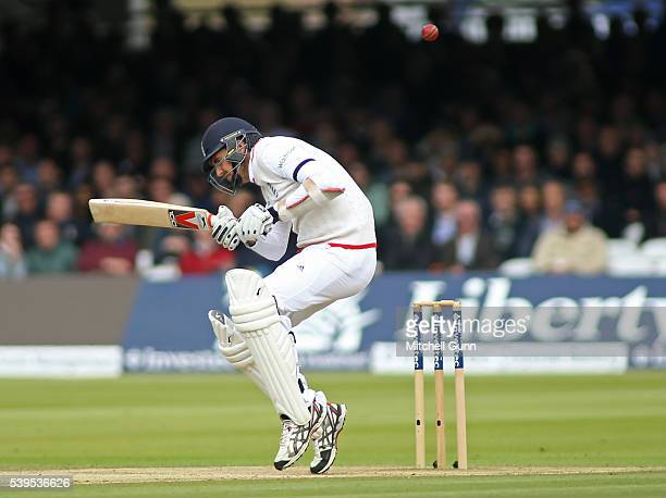 Steven Finn of England ducks under a bouncer during day four of the 3rd Investec Test match between England and Sri Lanka at Lords Cricket Ground on...