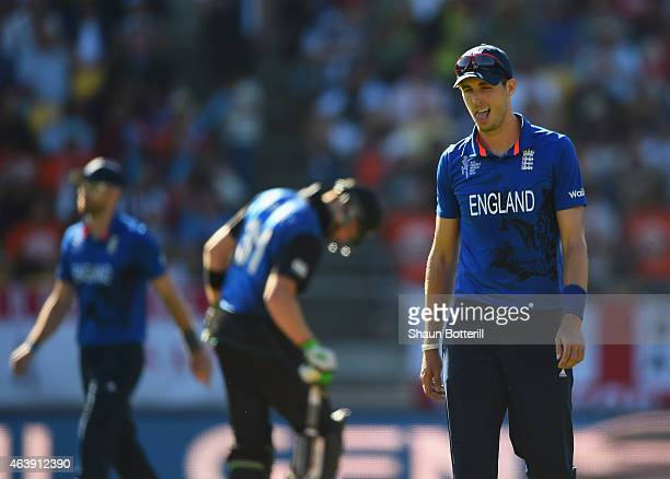 Steven Finn of England during the 2015 ICC Cricket World Cup match between England and New Zealand at Wellington Regional Stadium on February 20 2015...