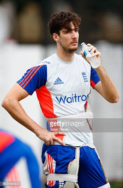 Steven Finn of England has a drink during England nets and training session at Sahara Stadium Kingsmead on December 25 2015 in Durban South Africa