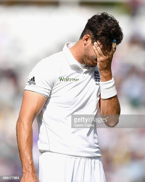Steven Finn of England leaves the field after injuring his leg during day four of the 4th Investec Test between England and Pakistan at The Kia Oval...
