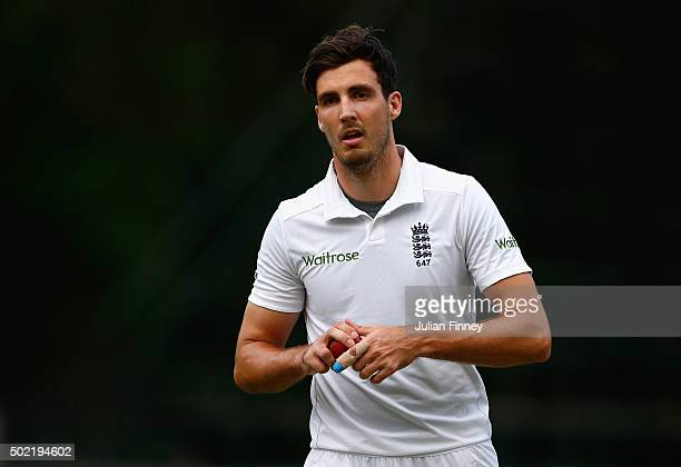 Steven Finn of England prepares to bowl during day two of the tour match between South Africa A and England at City Oval on December 21 2015 in...