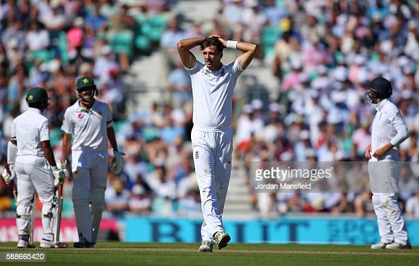 Steven Finn of England reacts during day two of the 4th Investec Test between England and Pakistan at The Kia Oval on August 12 2016 in London England