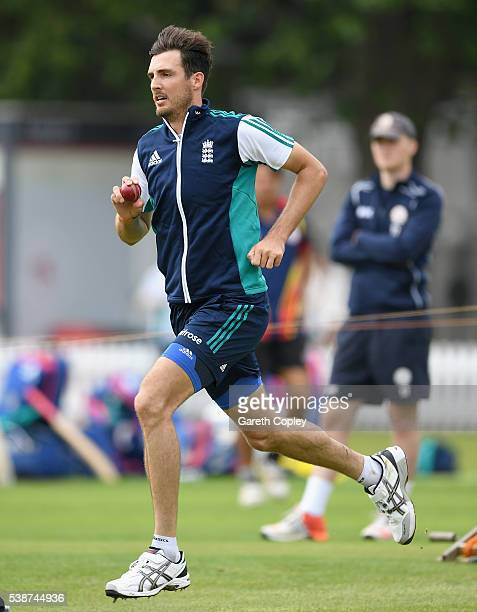 Steven Finn of England runs into bowl during a nets session ahead of the 1st Investec Test match between England and Sri Lanka at Lord's Cricket...