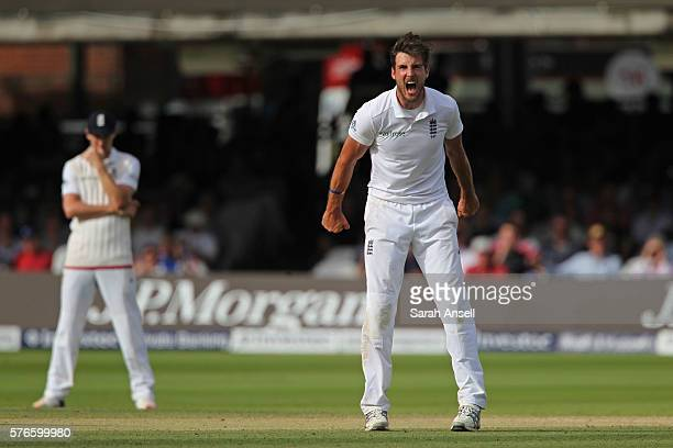 Steven Finn of England shouts in frustration after a misfield leaks four runs from his bowling during day 3 of the First Investec Test match between...