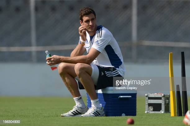 Steven Finn of England sits out a nets session at Sardar Patel Stadium on November 13 2012 in Ahmedabad India