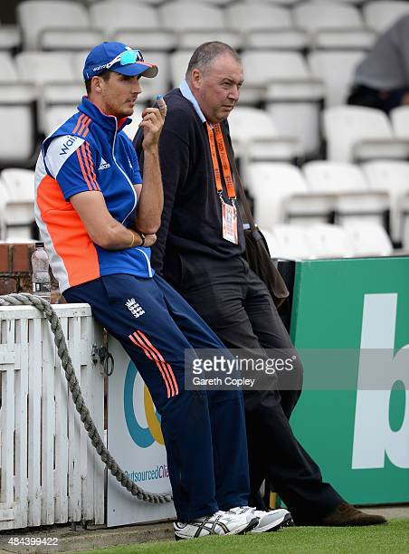 Steven Finn of England speaks with selector Angus Fraser during a nets session ahead of the 5th Investec Ashes Test match between England and...
