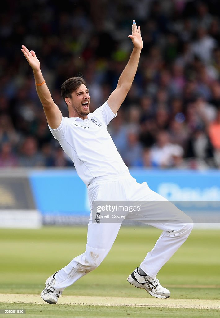 Steven Finn of England successfully appeals for the wicket of Dinesh Chandimal of Sri Lanka during day three of the 3rd Investec Test match between England and Sri Lanka at Lord's Cricket Ground on June 11, 2016 in London, United Kingdom.