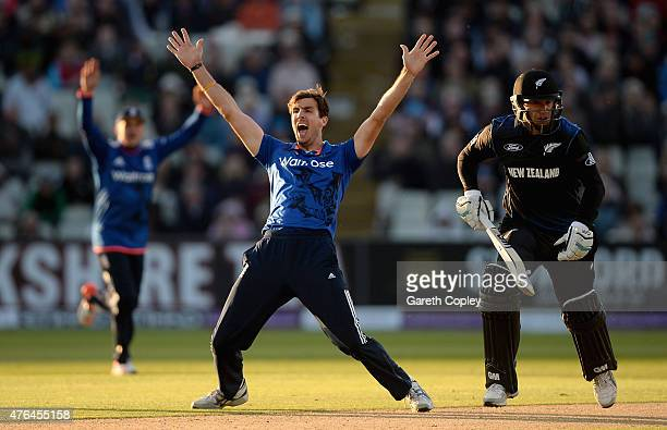 Steven Finn of England successfully appeals for the wicket of Ross Taylor of New Zealand during the 1st ODI Royal London OneDay match between England...