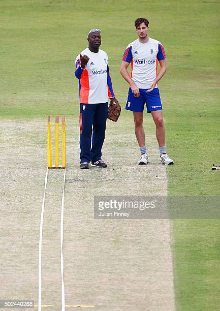 Steven Finn of England with bowling coach Ottis Gibson during England nets and training session at Sahara Stadium Kingsmead on December 25 2015 in...