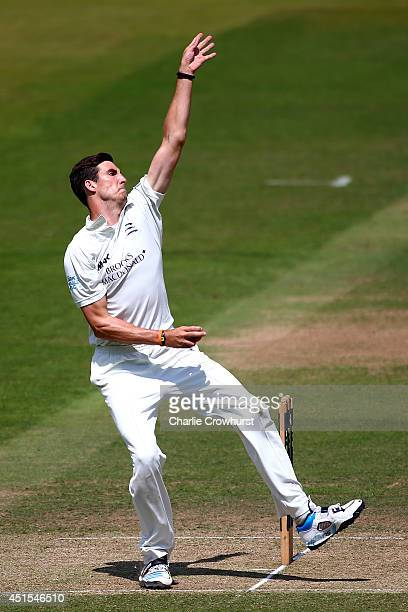 Steven Finn of Middlesex bowls during day three of the LV County Championship match between Middlesex and Northamptonshire at Lord's Cricket Ground...