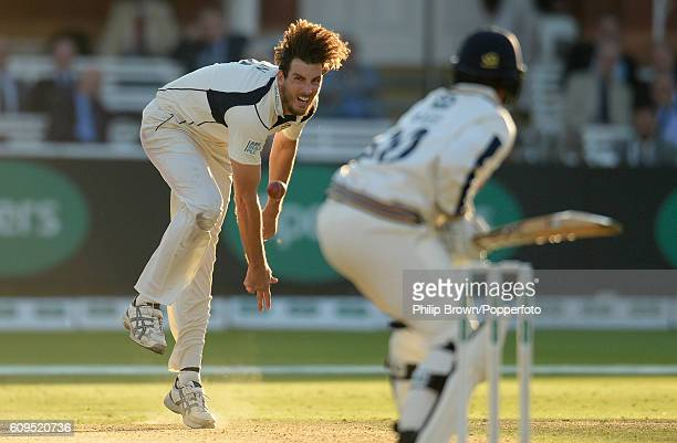 Steven Finn of Middlesex bowls during day two of the Specsavers County Championship Division One cricket match between Middlesex and Yorkshire at...