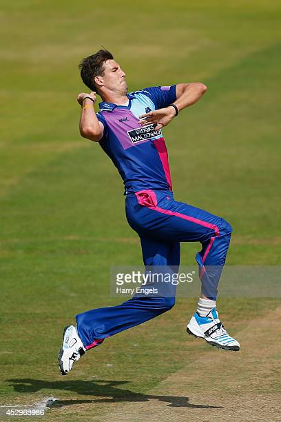 Steven Finn of Middlesex bowls during the Royal London OneDay Cup match between Middlesex Panthers and Surrey at Lord's Cricket Ground on July 31...