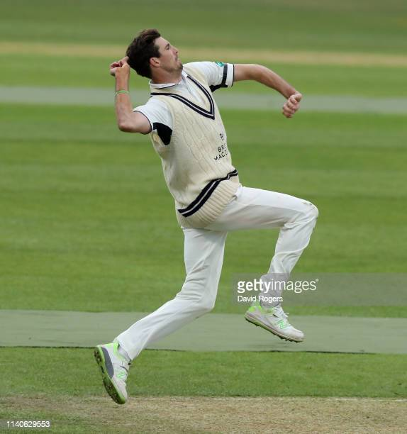 Steven Finn of Middlesex bowls during the Specsavers County Championship Division Two match between Northamptonshire and Middlesex at The County...