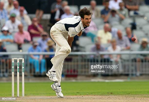 Steven Finn of Middlesex bowls during the Specsavers Division One County Championship match between Lancashire and Middlesex at Old Trafford on...