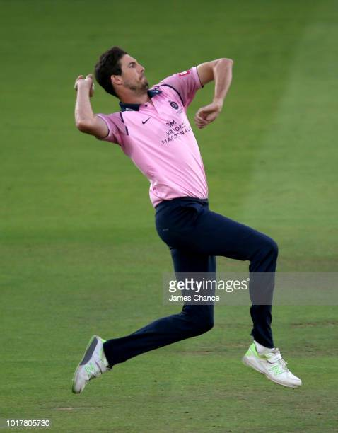 Steven Finn of Middlesex bowls during the Vitality Blast match between Middlesex and Essex Eagles at Lords on August 16, 2018 in London, England.