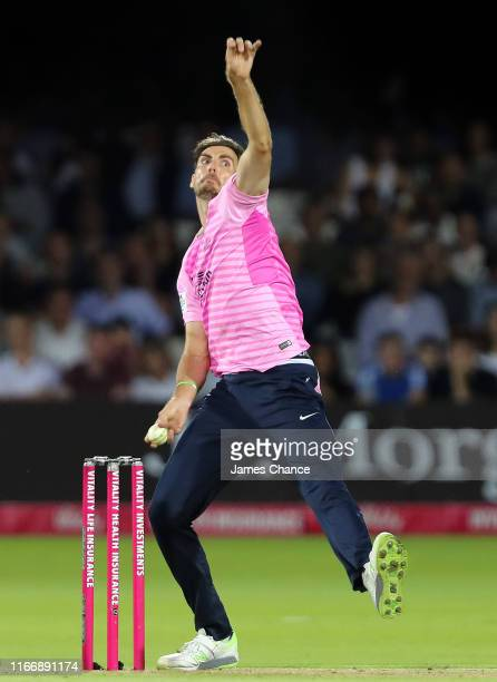 Steven Finn of Middlesex bowls during the Vitality T20 Blast match between Middlesex and Surrey at Lord's Cricket Ground on August 08, 2019 in...