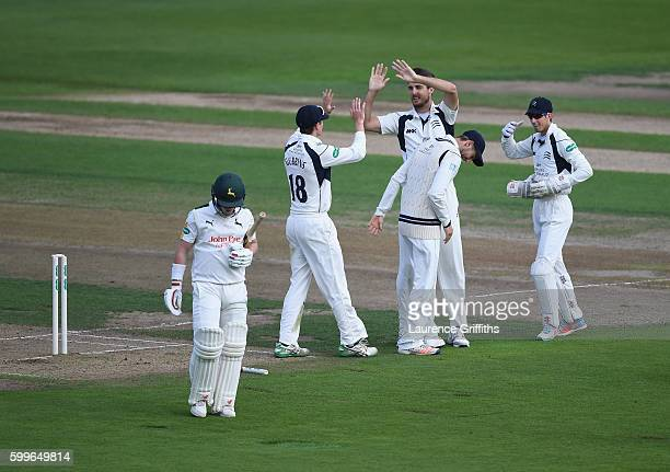 Steven Finn of Middlesex celebrates bowling Tom Moores of Nottinghamshire during Day One of the LV County Championship match between Nottinghmashire...