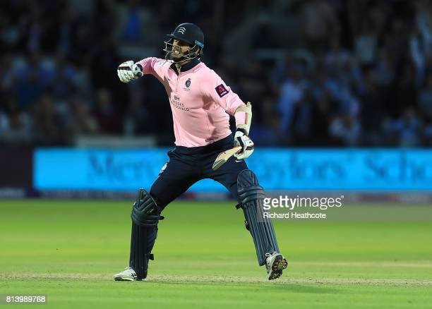 Steven Finn of Middlesex celebrates hitting the winning runs during the NatWest T20 Blast match between Middlesex and Surrey at Lord's Cricket Ground...